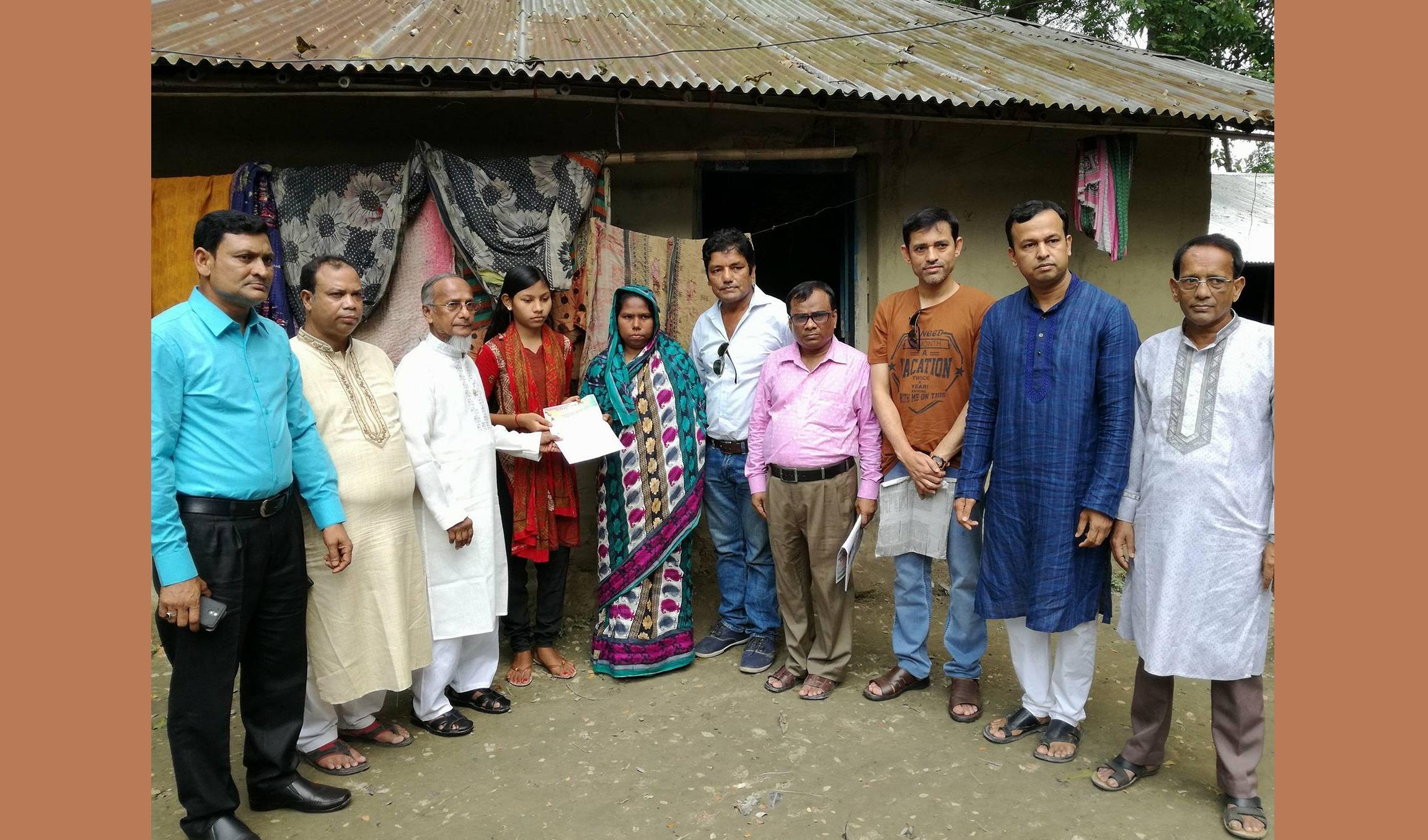 মেধাবী সনি নাথ পেল 'প্রজন্ম বঙ্গবন্ধু'র আর্থিক সহায়তা